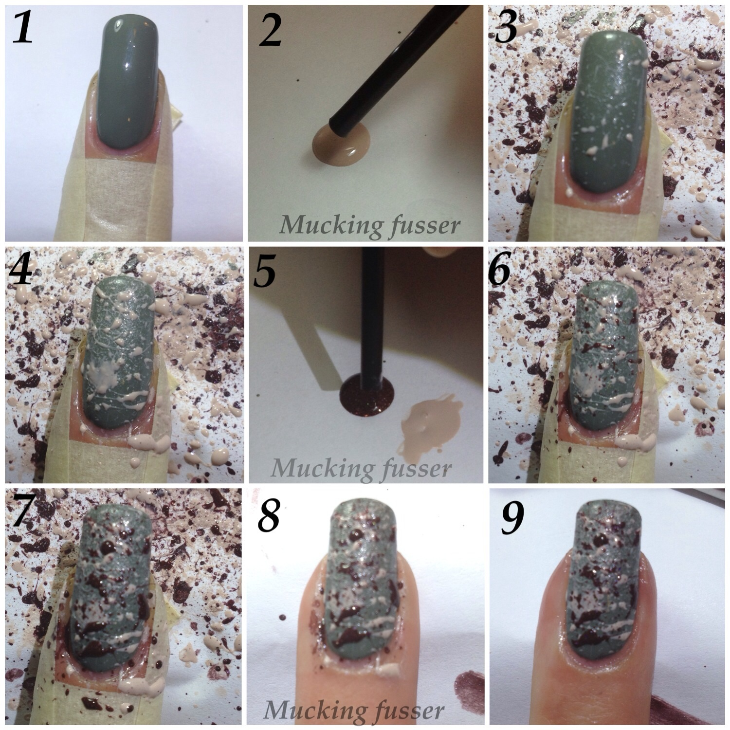 piCture pOlish Camo with Splatter Nail Tutorial – Mucking Fusser