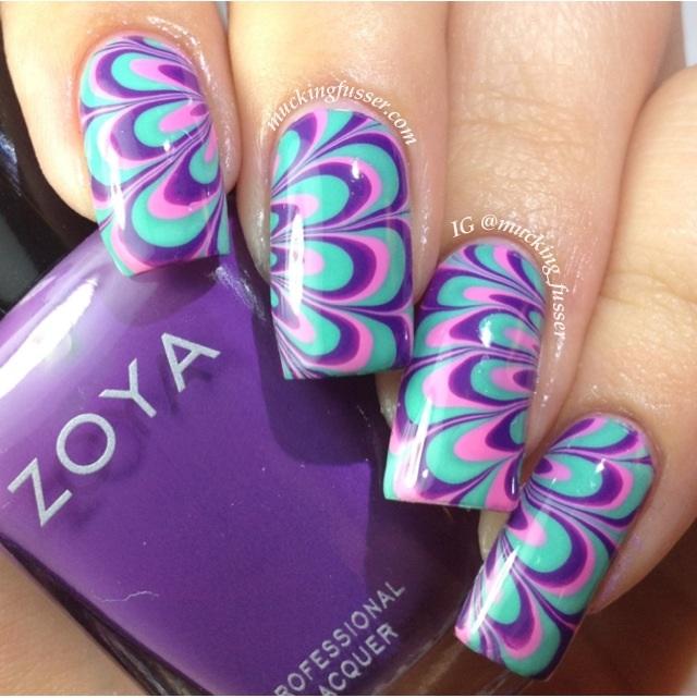 Маникюр водный дизайн ногтей