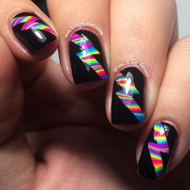 Rainbow Water Marble W Lightning Bolt Nail Vinyls Artificial Light