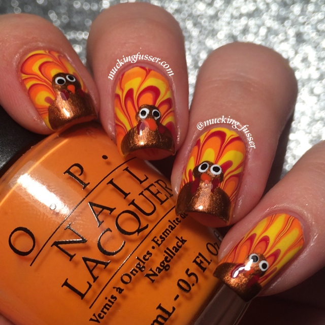 Tutorial: Turkey Tail Feather Water Marble Nails for Thanksgiving ...